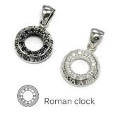【シルバー925】ペンダント 時を刻むローマ時計