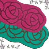 カラー&サイズ追加★可愛いバラの花型キッチンマット【ローズ】