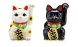 【什器・店舗備品・サイン】 【インテリア】 招き猫 【白/黒】【6号/7号/8号/10号】 招福 【Cool Japan】