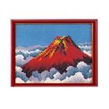 額付きセット《スキルギャラリー》赤富士 ビーズで作る絵画
