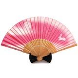 シルク扇子 月トウサギ ピンク<和柄>