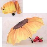 ★晴雨兼用★三つ折りたたみ傘、ひまわり模様、紫外線カット、UVカット