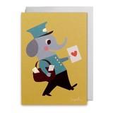 【Ingela P Arrhenius】 Ingela グリーティングカード790 郵便屋さん【ゾウさん】