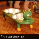 ペットも大事な家族の一員!【木彫りアニマルペットフードトレイ】アジアン雑貨