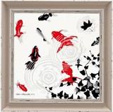 グラス シルエット アート【モダンアート】金魚/池/日本/和風柄<樹脂フレーム>