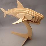 ☆木製組立てキット3D立体パズル「3Dパズル名人(海)」ホオジロザメ