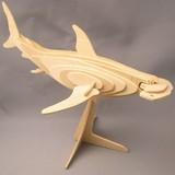 ☆木製組立てキット3D立体パズル「3Dパズル名人(海)」シュモクザメ