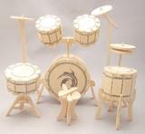 ☆木製組立てキット3D立体パズル「3Dパズル名人(楽器)」ドラム