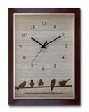 鳥たちの仕草がかわいいインテリアクロック/トリ(Bird)ブラウン