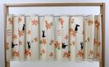 魔女の宅急便:お花がいっぱい柄:カフェカーテン ねこ柄