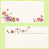日本製 パープルローズ バラ柄 封筒