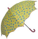 【リールリール・プチ】子供用雨傘 ビビットカラーハートプリント 変形オーバーロック加工