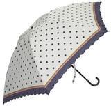 【ジュビア】婦人用折りたたみ雨傘 水玉ボーダープリント スカラー刺繍
