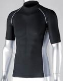 冷感・消臭PS半袖ハイネックシャツ ブラック<暑さ対策・熱中症・UVカット・インナー・スポーツ・Tシャツ>