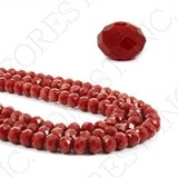 Crystal Glass Beads Button Cut Red FOREST