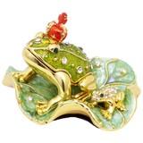【戦プラ!】 売れ筋!カエルの置物 宝石箱 ジュエリーボックス 【王冠カエル】