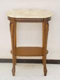 【イタリア家具】猫脚 アンティーク調フラワーテーブル 大理石天板花台・ウォールナット ブラウンレッグ