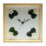 ハワイアンクロック30<ハワイアン雑貨 掛け時計>プルメリア/モンステラ