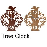 Wall Hanging Product Clock/Watch Tree Brown Natural