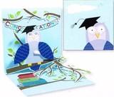UP WITH PAPERトレジャーズカード(飛び出すカード) 卒業にぴったり <本×ふくろう>