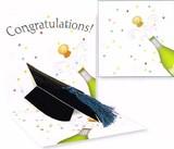UP WITH PAPERトレジャーズカード(飛び出すカード) 卒業にぴったり <シャンパン×帽子>