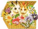 PUNCH STUDIO イースター グリーティングカード  <ウサギ×フラワーバスケット>