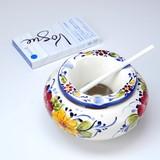 【ポルトガル製】おしゃれ 灰皿 フタ付き 丸型 白 陶器製 優しい小花柄 ブルー アッシュトレイash