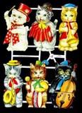 Ernst Freihoff スクラップシート <猫×楽器> *クロモス