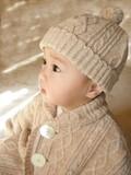 【定番】【日本製】【オーガニックコットン】オーガニック縄編みニットベビー帽子<ベビー・キッズ>