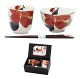 ■美濃焼ギフト■和藍 花かいろう飯碗湯呑 山茶花(天宝箸付)