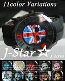 新作☆J-Star★3D ドクロ 迷彩 ラバータイプ ジルコニア ユニセックス 腕時計☆J-1059R-D