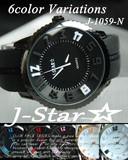ケースあり&なしOK☆J-Star★3D ラバータイプ BIGフェイス ユニセックス 腕時計☆J-1059R-N