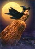 AVANTI PRESS グリーティングカード ハロウィン  月 魔女のホウキ
