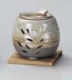 お部屋の消臭に!■常滑焼【茶香炉】石龍緑灰釉花茶香炉(板付)