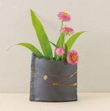 ■常滑焼【花器】石堂粉引楕円花器