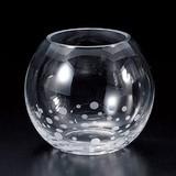 ■【硝子/金魚鉢】クリア水玉金魚鉢