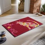 【直送可】【洗える玄関マット】カラフルな花柄の猫(ねこ)が優雅な雰囲気を演出◆ヨーロッパデザイン◆