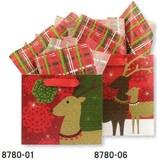 THE GIFT WRAP COMPANY クリスマスペーパーギフトバッグ <トナカイ×結晶>