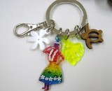 Original Present Rainbow Hula Girl Key Ring