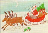 ART UNLIMTED クリスマスポストカード<サンタ×トナカイ>