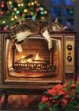 AVANTI PRESS クリスマスカード<猫×テレビ×だんろ>