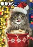 AVANTI PRESS クリスマスカード<猫×ぼうし×カプチーノ>