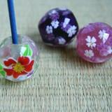 【アートラボ(ART LABO)】花柄 とんぼ玉