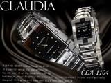 メタルバンド スクエアー ジルコニア ペアウォッチ◇-CLAUDIA-レディース&メンズ 腕時計 CLA-1104