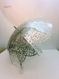 通年新作)雨傘・長傘−婦人 ビニール12本骨切り絵柄ジャンプ雨傘