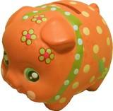 貯金が楽しくなってきそう♪■【置物/貯金箱】デコぶたオレンジ
