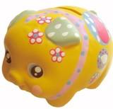貯金が楽しくなってきそう♪■【置物/貯金箱】デコぶたイエロー