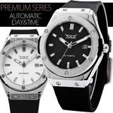 【再入荷】★【カレンダー機能】★42mmフェイスバックスケルトン自動巻き腕時計【全2色・保証書付】