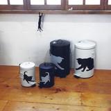 【ネコ/CAT(猫)】2サイズ展開(S・L)・2カラー(ホワイト・ブラック)/ダストビン(ごみ箱)