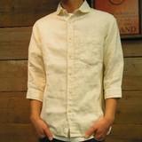 ★【特価】【JOEY FACTORY】リネンラウンドカラー7分袖シャツ